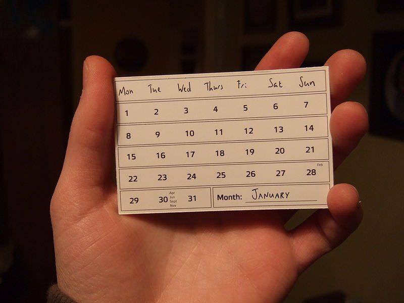 Calendar small business card
